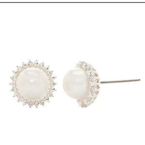 Stunning Faux Pearl and Cubic Zirconia Earrings